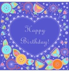 Happy birthday card with heart and poppy vector