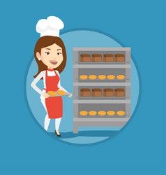 Happy young female baker holding tray of bread vector
