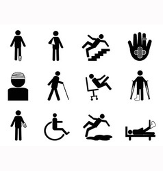 Injury icons set vector image