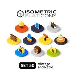 Isometric flat icons set 50 vector