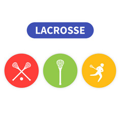 Lacrosse icons player in game sticks vector