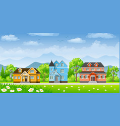 landscape with three classic houses vector image vector image