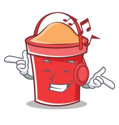 Listening music bucket character cartoon style vector