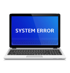 Modern laptop with system error message on blue vector