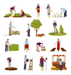 People and horticulture set vector