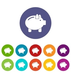 Piggy bank set icons vector image vector image