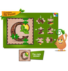 Puzzle letters of the alphabet c vector