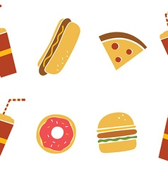 seamless fastfood restaurant theme pattern vector image