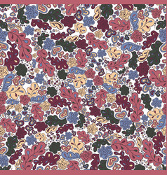 Seamless pattern flower and leaf background in vector