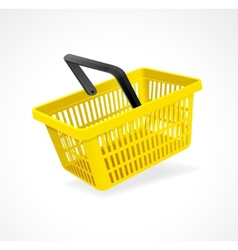 shopping basket yellow on white vector image vector image