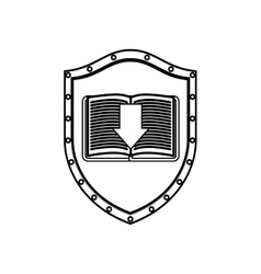 Silhouette shield with textbook and arrow vector