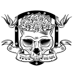 Skull in flowers tattoo design vector
