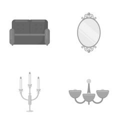 sofa mirror candlestick chandelier vector image