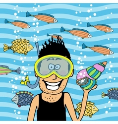 swimmer wearing snorkel with seashell vector image