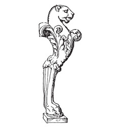 Table leg have lion face in right side in design vector
