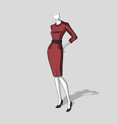 Woman in dark red form-fitting dress vector