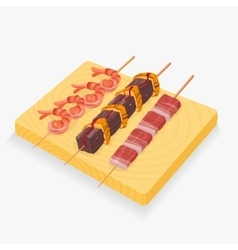 Asian snack skewers vector