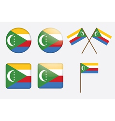 Badges with flag of union of the comoros vector