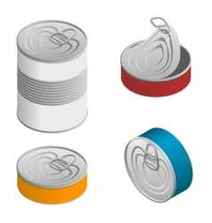 Isometric set of opened and closed food tin cans vector