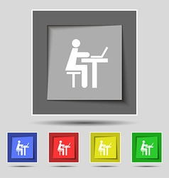 Businessman working on computer icon sign on vector