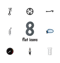Flat icon parts set of auto component silencer vector