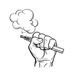 Male hand holding e-cigarette electronic vector