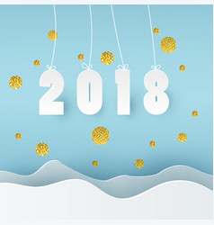 2018 happy new year blue background with golden vector image