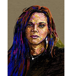 Original digital painting portrait of women vector image