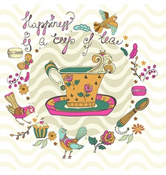 Color tea time background vector image