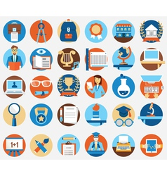 Set of flat education and science icons vector