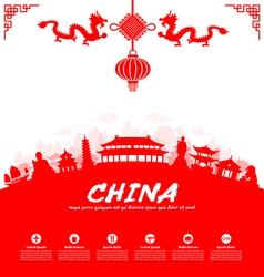 China travel landmarks vector