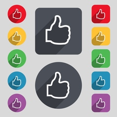 Like icon sign a set of 12 colored buttons and a vector