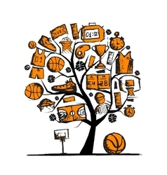 Basketball tree concept sketch for your design vector