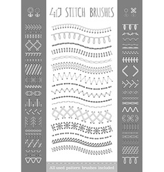 40 seamless white stitch brushes vector