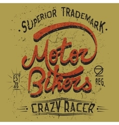 Vintage trademark with motor bikers text vector