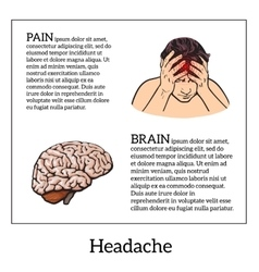 Concept headache brain sketch vector image