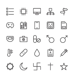 Web and user interface outline icons 14 vector