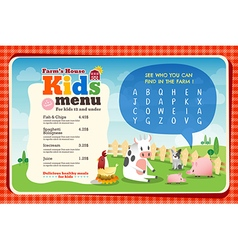 Cute colorful kids meal menu placemat template vector