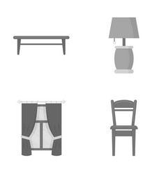A coffee table a lamp curtains a chair vector