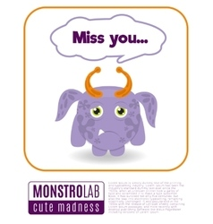 A monster saying miss you vector