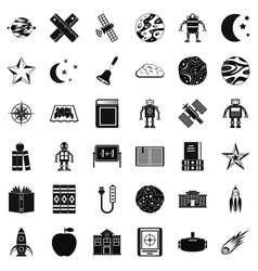 astronomy exploration icons set simple style vector image