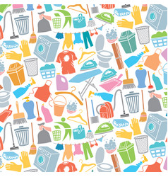 background pattern with laundry and cleaning icons vector image vector image