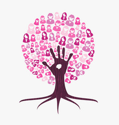 Breast cancer awareness month pink help hand tree vector