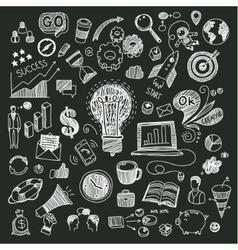 Business doodles on blackboard vector