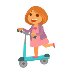 Cheerful redhead girl in pink dress rides kick vector