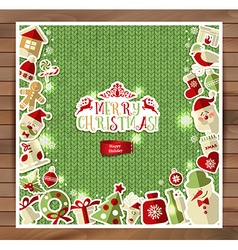 Christmas on red knitting texture vector image vector image