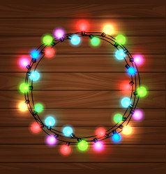 Christmas round garland on wood background vector