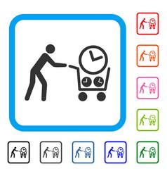 Clock shopping framed icon vector