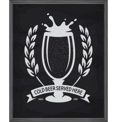 Cold beer served here poster pub emblem on vector