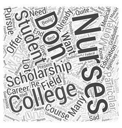 College nursing scholarship word cloud concept vector